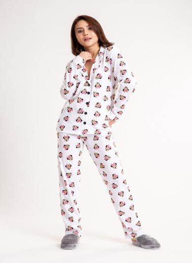 Madame Sare  Kadın Cizgi Film Baskılı Beyaz Pijama Takımı Beyaz